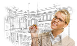 Woman With Pencil Drawing Custom Kitchen Design. Creative Woman With Pencil Drawing Custom Kitchen Design on White vector illustration