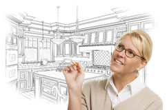 Woman With Pencil Over Custom Kitchen Design Drawing Stock Photography