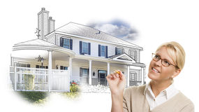 Woman with Pencil Over House Drawing and Photo on White. Woman with Pencil Over House Drawing and Photo Combination on White stock image