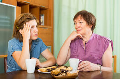 Woman pensioner having conversation with her daughter Stock Image