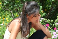 Woman in Pensive Mode. Beautiful Italian Woman in Pensive Mode / Thinking e Troubled Stock Images