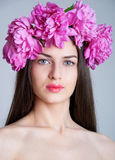 Woman with peony wreath Royalty Free Stock Photos