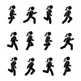 Woman people various running position. Posture stick figure. Vector illustration of posing person icon symbol sign pictogram. Woman people various running Royalty Free Stock Images