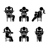 Woman people various sitting position. Posture stick figure. Vector seated person icon symbol sign pictogram on white. Woman people various sitting position Royalty Free Stock Images