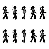 Woman people various walking position. Posture stick figure. Vector standing person icon symbol sign pictogram on white. Woman people various walking position Stock Images
