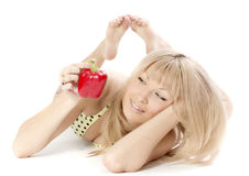 The woman with pepper Stock Photography