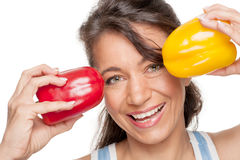 Woman with pepper Royalty Free Stock Image