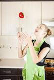 Woman with pepper in the air Stock Photos