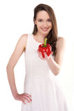 Woman with pepper Stock Images