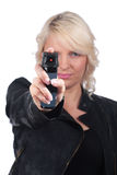 Woman with pepper spray  isolated Royalty Free Stock Photo