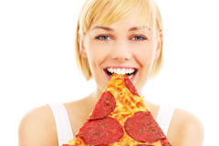 Woman and pepperoni pizza Royalty Free Stock Images