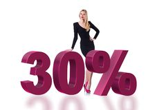 The woman in 30 percent sale concept