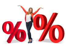 Woman with percent signs Stock Photos