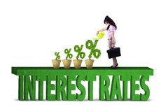 Woman with percentage sign of interest rates Stock Photography