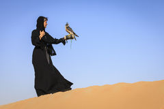Woman with Peregrine Falcon Stock Images