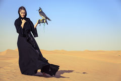 Woman with Peregrine Falcon Royalty Free Stock Images
