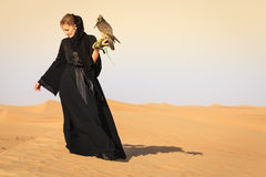 Woman with Peregrine Falcon Stock Image
