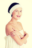 Woman with perfect body ready for skin treatment. Stock Photo