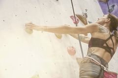 Woman with perfect fit body, beautiful muscular arms, training on a climbing wall in sport hall. Woman with perfect fit body, beautiful muscular arms, training stock image