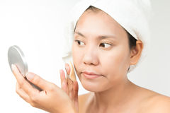 Woman with perfect health skin of face and bath towel on head Stock Images