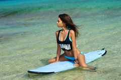 Woman with perfect sexy body sitting on surfboard Royalty Free Stock Images