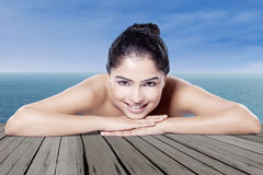 Woman with perfect skin at beach Stock Photography