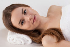 Woman with perfect skin at beauty salon Royalty Free Stock Image