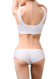 Woman with perfect slim body in white underwear Royalty Free Stock Photos