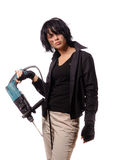 Woman with perforator in black casual clothing royalty free stock photography