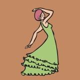 Woman perform Latin Flamingo dance. Cartoon character woman perform Latin dance Royalty Free Stock Photo