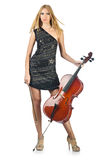 Woman performer with cello Royalty Free Stock Photo