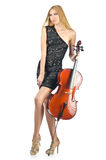 Woman performer with cello Royalty Free Stock Photos