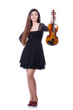 Woman performer playing violin on white Stock Photos