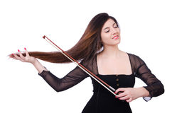 Woman performer playing violin on white Stock Image
