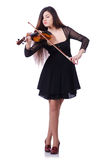 Woman performer playing violin on white Stock Photography