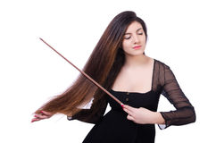 Woman performer playing violin on white Royalty Free Stock Images