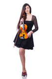 Woman performer playing violin on white Royalty Free Stock Photo