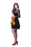 Woman performer playing violin on white Stock Images