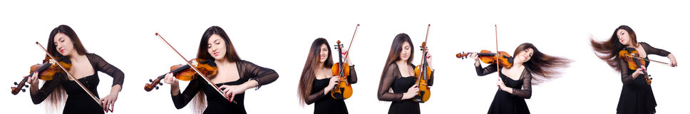 The woman performer playing violin on white Stock Photo