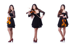 The woman performer playing violin on white Royalty Free Stock Photos