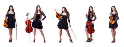 The woman performer playing violin on white Royalty Free Stock Image