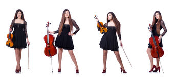 The woman performer playing violin on white Royalty Free Stock Images