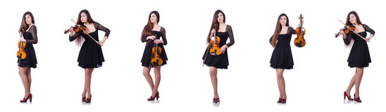 The woman performer playing violin on white. Woman performer playing violin on white stock photo