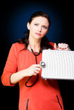 Woman Performing Business And Finance Health Check Royalty Free Stock Image
