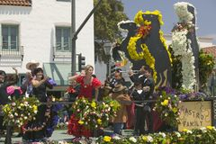 Woman performing Flamenco dancing on parade float during opening day parade down State Street, Santa Barbara, CA, Old Spanish Days Stock Photography