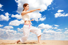 Woman performing a kick Royalty Free Stock Photo