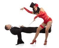 Woman performing magically levitating Royalty Free Stock Photo