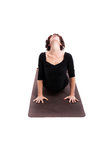 Woman performing yoga exercises. Stretching,  on white background Royalty Free Stock Photos