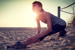Woman performs exercises Royalty Free Stock Images