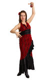 Woman performs the Spanish dance with castanets Stock Images
